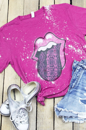 Bleached Snakeskin Pink Tongue Tri-Blend Short Sleeve Tee