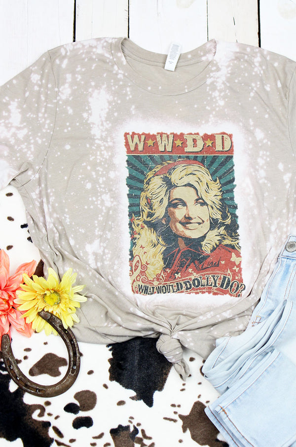 Bleached Vintage What Would Dolly Do Tri-Blend Short Sleeve Tee