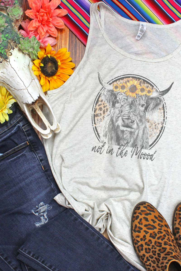 Not In The Moood Sunflower Cow Unisex Jersey Tank