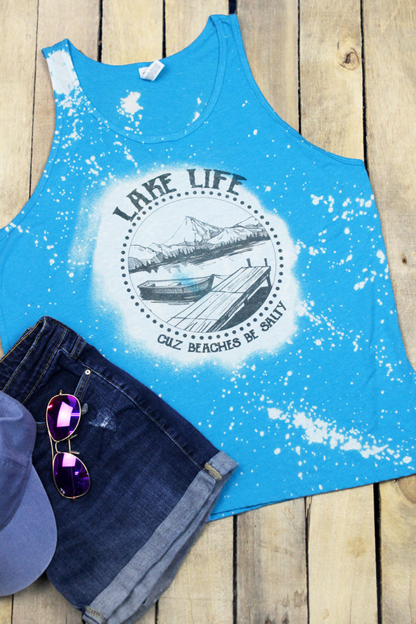 Bleached Lake Life Beaches Be Salty Unisex Jersey Tank