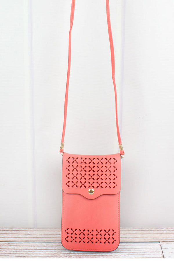 Coral Perforated Faux Leather Touch Screen Crossbody