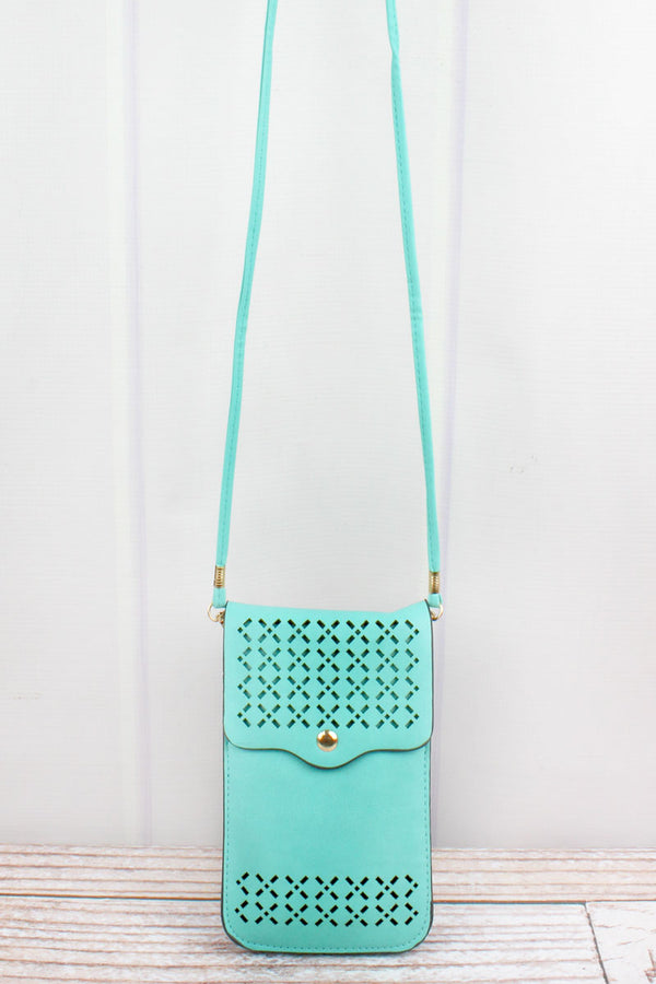 Mint Perforated Faux Leather Touch Screen Crossbody