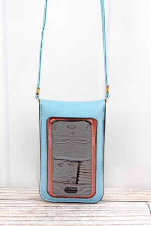 Blue Perforated Faux Leather Touch Screen Crossbody
