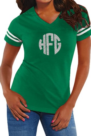 L.A.T. Ladies' Fine Jersey Football T-Shirt, Green/White #3537 *Personalize It
