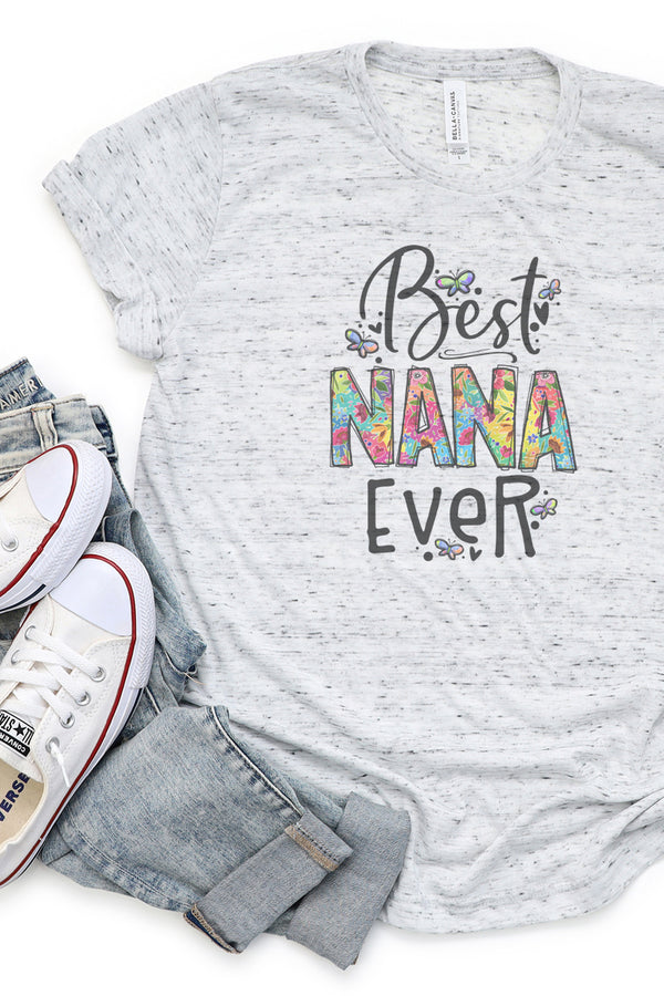 Floral Best Nana Ever Unisex Short Sleeve Tee