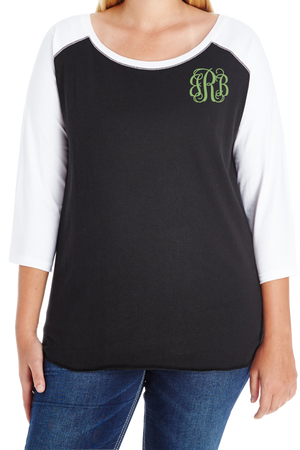 L.A.T. Ladies Curvy Baseball Tee #3830 *Personalize It