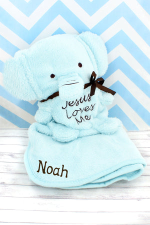 Blue 'Jesus Loves Me' Elephant Baby Blankie #41135