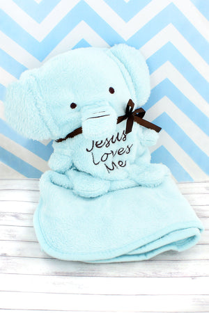 Blue 'Jesus Loves Me' Elephant Baby Blankie