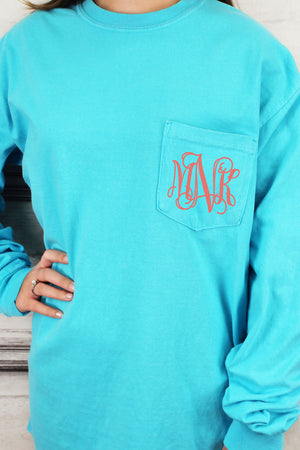 Shades of Blue Comfort Colors Long Sleeve Pocket Tee *Personalize It