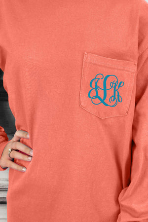 Shades of Red/Orange Comfort Colors Long Sleeve Pocket Tee *Personalize It