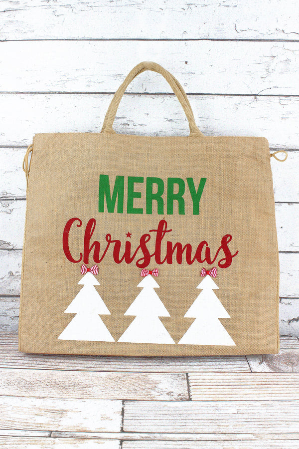 Natural with Two-Color 'Merry Christmas' Large Jute Shopper