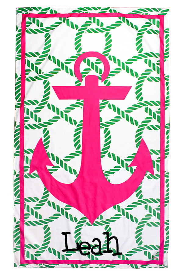Kelly And Hot Pink Anchor Giant Microfiber Beach Towel