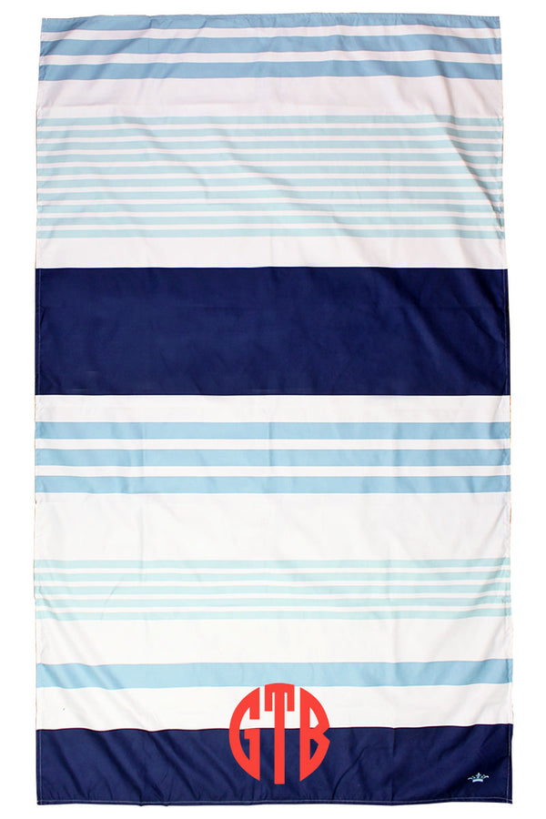 Lagoon, Sky And Navy Paradise Stripe Giant Microfiber Beach Towel