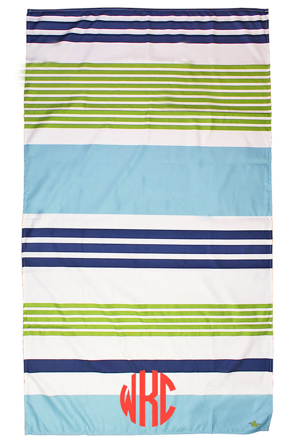 Navy, Green And Lagoon Paradise Stripe Giant Microfiber Beach Towel