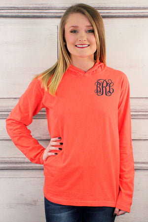 Shades of Red/Orange Comfort Colors Long Sleeve Hooded Tee #4900 *Personalize It