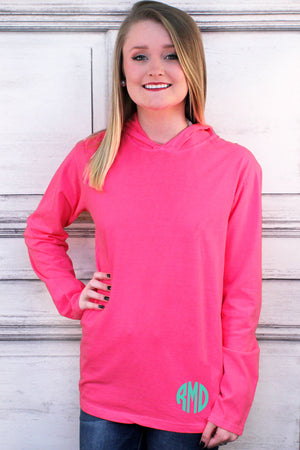 Shades of Pink Comfort Colors Long Sleeve Hooded Tee #4900 *Personalize It
