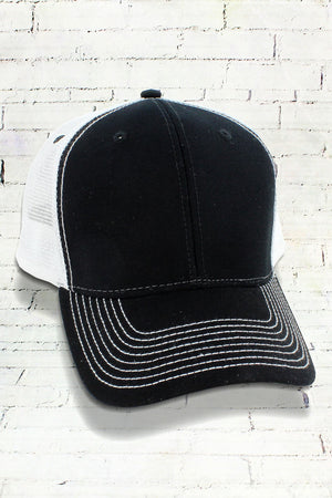 Black and White Contrast Mesh Trucker Cap