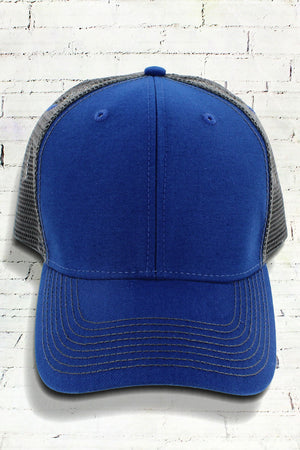 Royal and Dark Gray Contrast Mesh Trucker Cap