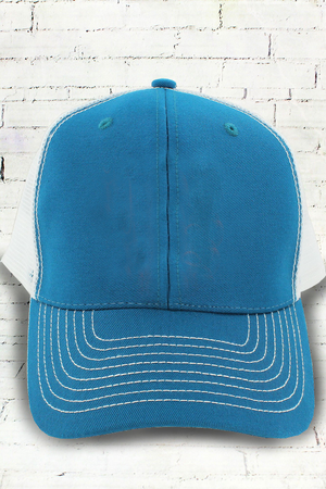 Seaport and White Contrast Mesh Trucker Cap