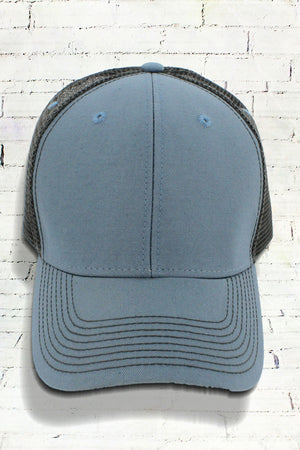 Steel and Dark Gray Contrast Mesh Trucker Cap