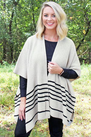 College Bound Striped Knit Ruana, Cream