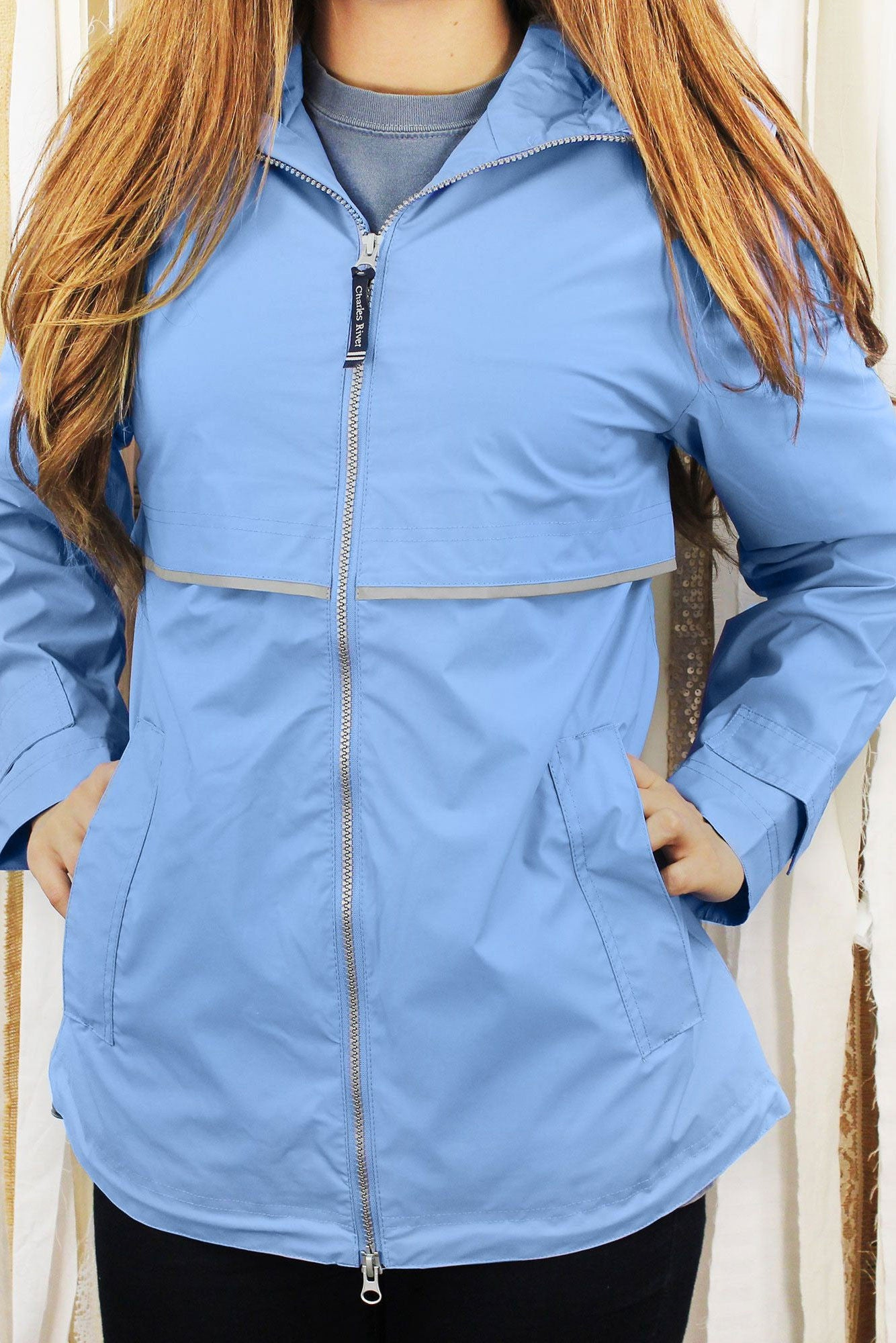 cost charm coupon codes top style Charles River Women's New Englander Periwinkle Rain Jacket *Customizable!
