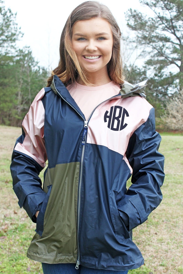 Charles River Navy, Rose Gold, and Olive Colorblock New Englander Rain Jacket *Customizable!