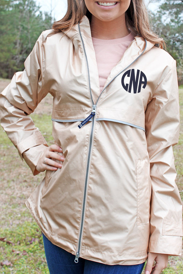 Charles River Champagne with Floral Lining New Englander Rain Jacket *Customizable!