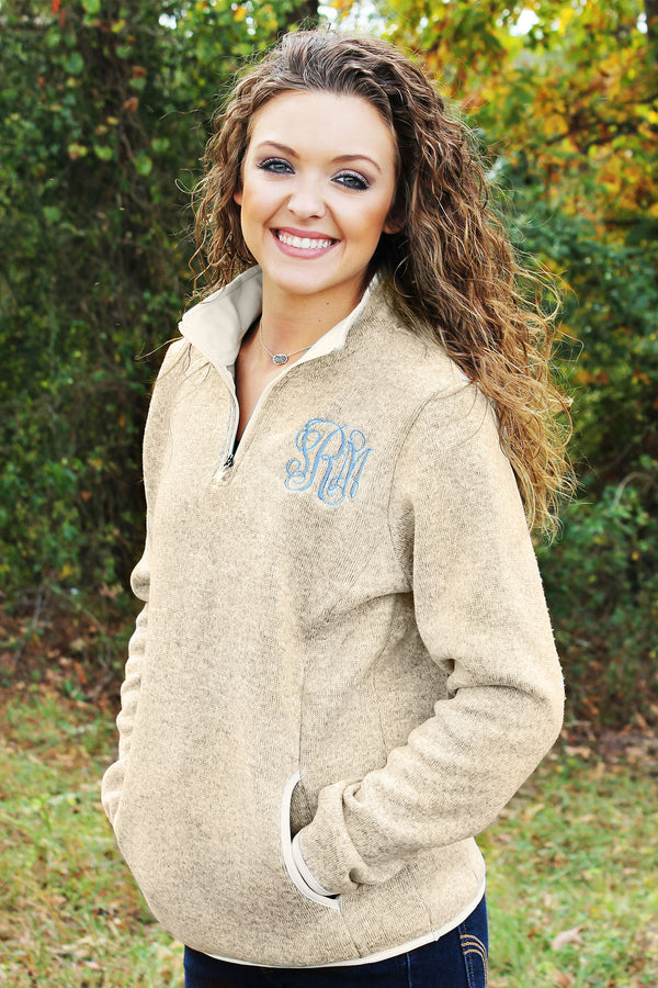 Women's Charles River Heathered Fleece Pullover, Oatmeal Heather *Customizable!