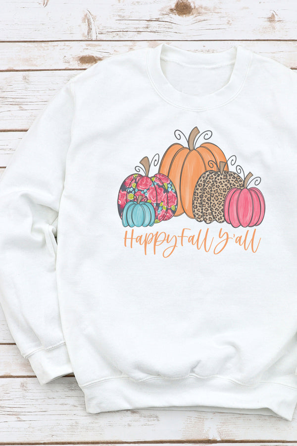 Floral Pumpkin Happy Fall Y'all Unisex NuBlend Crew Sweatshirt