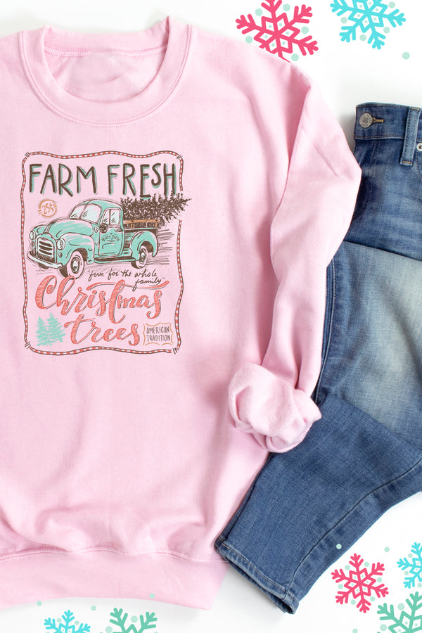 Sketch Farm Fresh Christmas Trees Unisex NuBlend Crew Sweatshirt