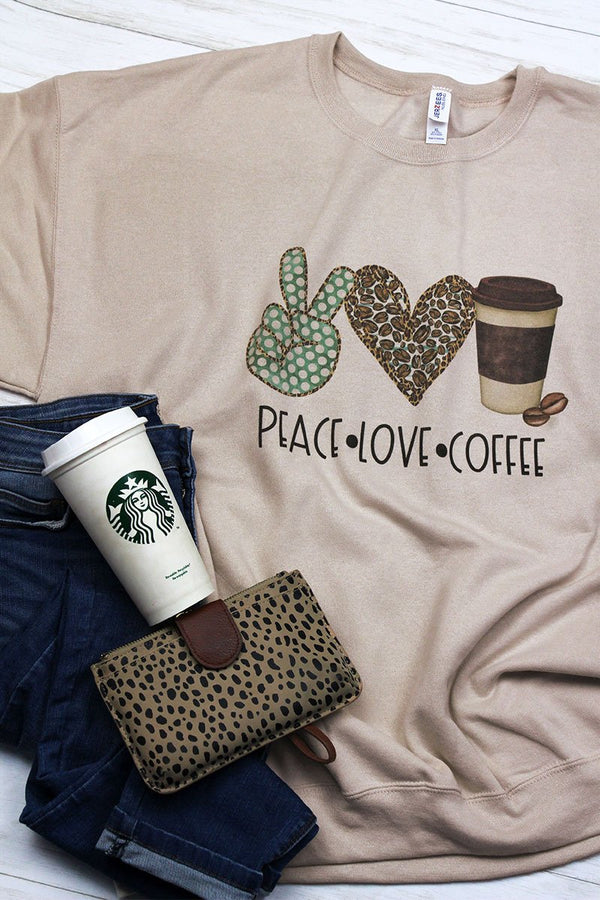 Peace Love Coffee Unisex NuBlend Crew Sweatshirt