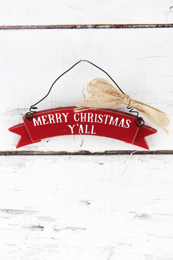 Merry Christmas Y'all Wood Banner Ornament, 1.5""