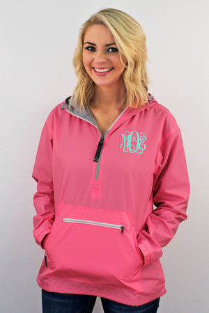Charles River Women's Chatham Anorak Solid Pullover, Neon Pink #5809 *Customizable! (PLEASE ALLOW 3-5 BUSINESS DAYS. EXPEDITED SHIPPING N/A)