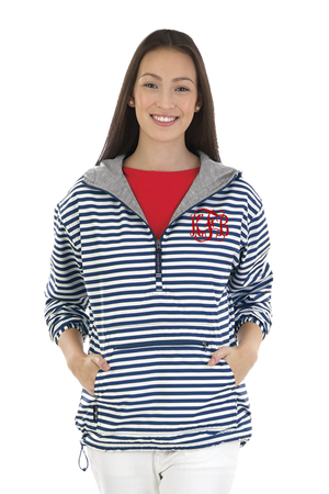 Charles River Navy and White Stripe Women's Chatham Anorak Pullover #5809P *Customizable! (PLEASE ALLOW 3-5 BUSINESS DAYS. EXPEDITED SHIPPING N/A)