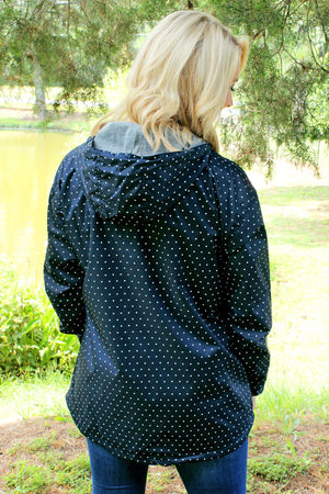 Charles River Navy and White Polka Dot Women's Chatham Anorak Pullover *Customizable!