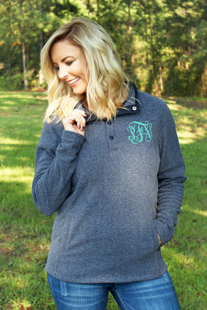Charles River Women's Bayview Fleece Pullover, Medium Blue Heather *Personalize It!
