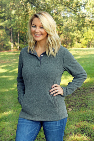 Charles River Women's Bayview Fleece Pullover, Steel Heather *Personalize It!