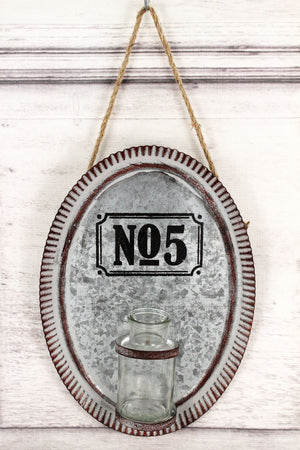 No. 5 Galvanized Metal Wall Hanging with Vase #59604