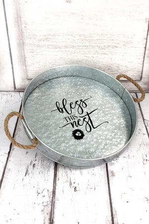 Bless This Nest Galvanized Metal Medium Round Serving Tray #59673