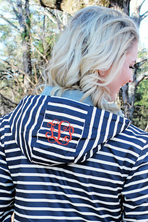 Charles River Women's New Englander Navy Striped Rain Jacket *Customizable!