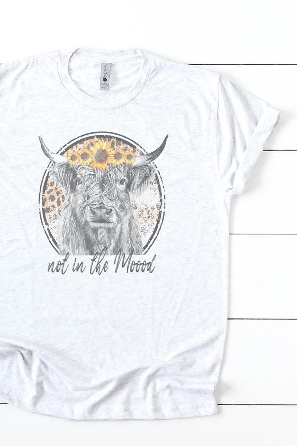Not In The Moood Sunflower Cow Tri-Blend Crew Tee