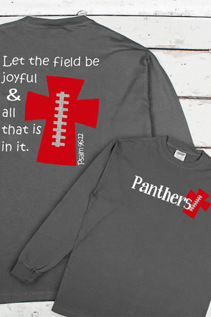 Football Cross Comfort Colors Long Sleeve T-Shirt #6014 *Personalize Your Text and Colors