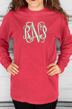 Shades of Red/Orange Comfort Colors Long Sleeve T-Shirt #6014