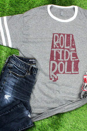 Alabama Football Pride Tri-Blend Varsity Ringer Tee
