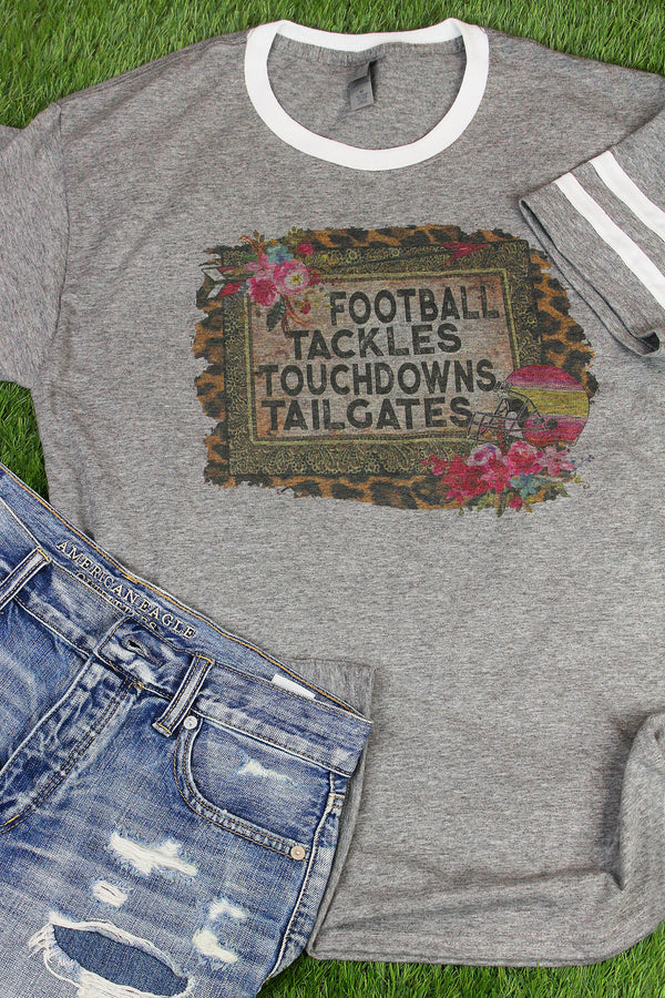 Football Tackles Touchdowns Tailgates Tri-Blend Varsity Ringer Tee