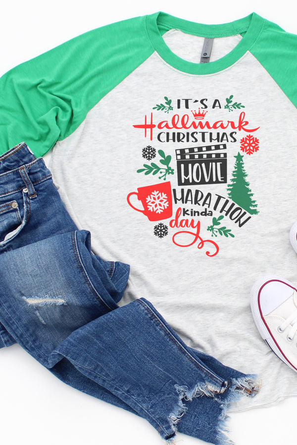 Christmas Movie Marathon Hallmark Tri-Blend Unisex 3/4 Raglan