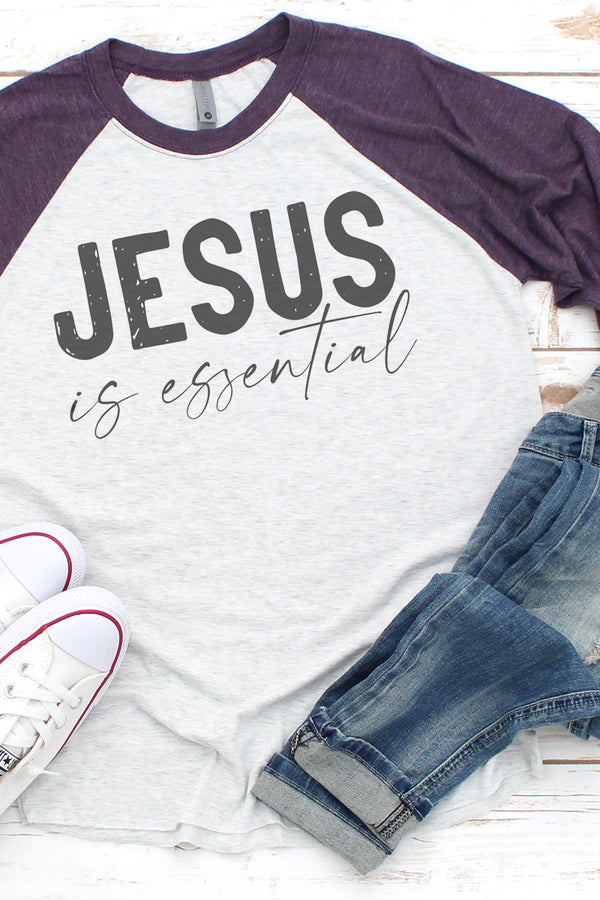 Jesus Is Essential Tri-Blend Unisex 3/4 Raglan