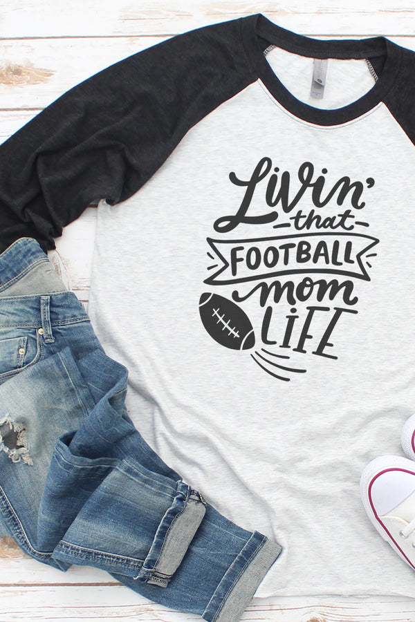 Livin' That Football Mom Life Tri-Blend Unisex 3/4 Raglan