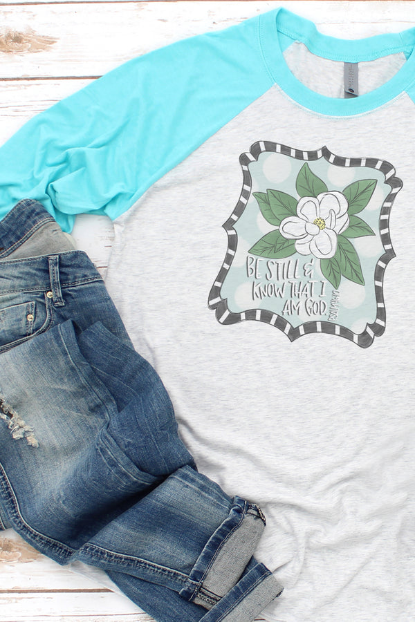 Magnolia Be Still And Know Tri-Blend Unisex 3/4 Raglan
